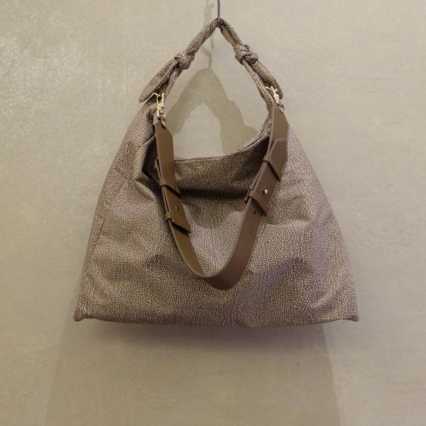 borsa borbonese hobo large modello Desert in nylon op e dettagli brown