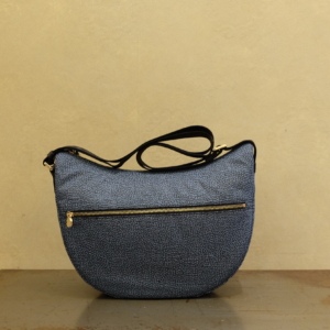 luna bag middle di borbonese in nylon eco e pelle blue black