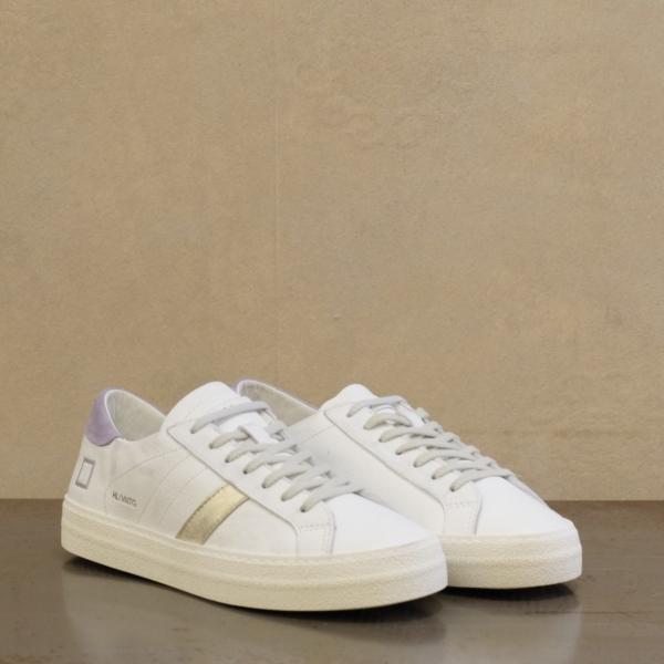 d.a.t.e. hill low vintage calf lavander sneaker donna effettu used in pelle morbida bianca e dettagli oro e lavanda