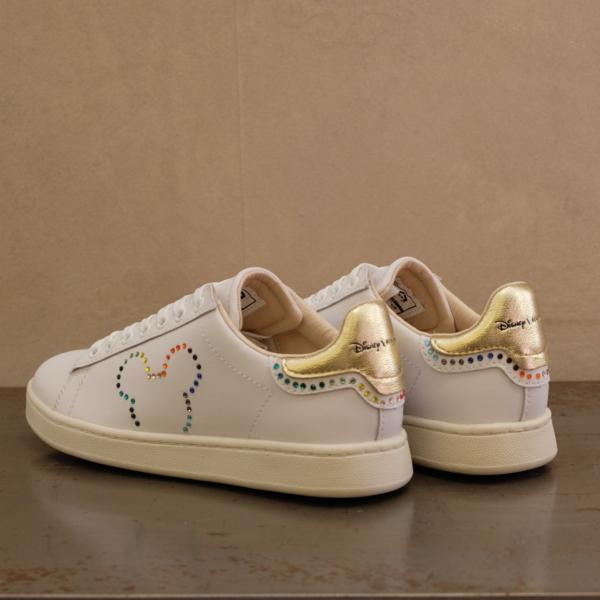 sneaker donna Moa MD 470 serie speciale disney dedicata all'amore. Strass e colori arcobaleno su pelle bianca