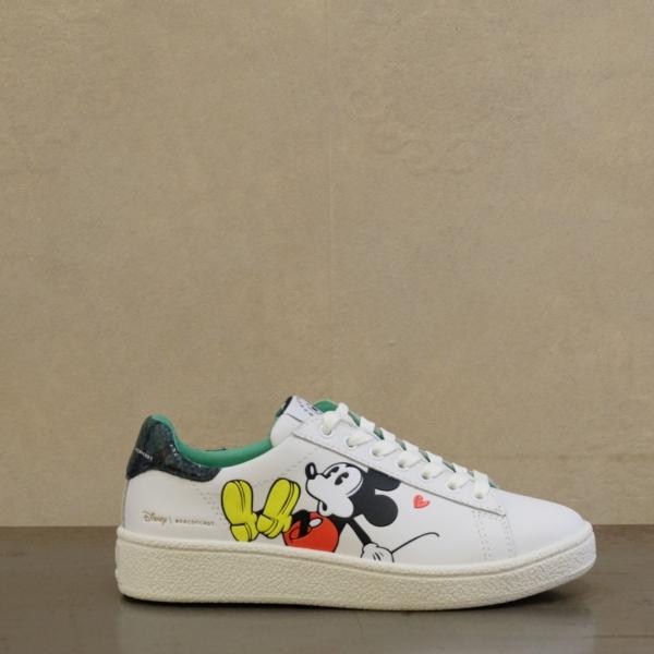 moa sneaker donna modello 629 serie speciale Disney pelle bianca e topolino