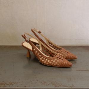 pulsante per acquistare sandalo donna chantal pelle intrecciata colore color cuoio tacco a rocchetto cm 6