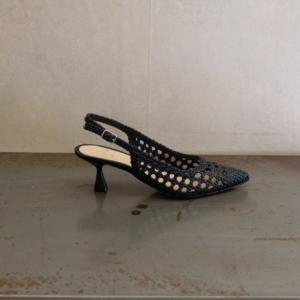 pulsante per acquistare sandalo donna chantal pelle intrecciata colore nero tacco a rocchetto cm 6