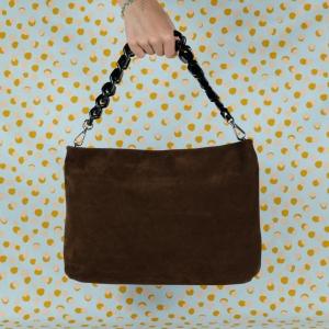 gianni chiarini borsa a spalla in pelle scamosciata colore cioccolato