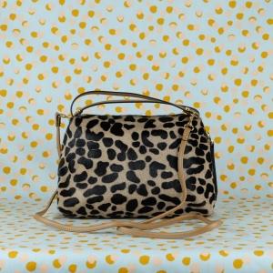gianni chiarini borsa a mano in pelle e cavallino colore leopard e brown