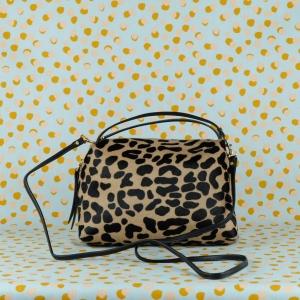 gianni chiarini borsa a mano in pelle e cavallino colore leopard e nero