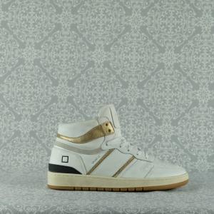 d.a.t.e. sport high vintage white gold sneaker akta in perfetto stile anni '90 chiusura con lacci pellami di alta qualità in vendita su www.stefanoascari.it