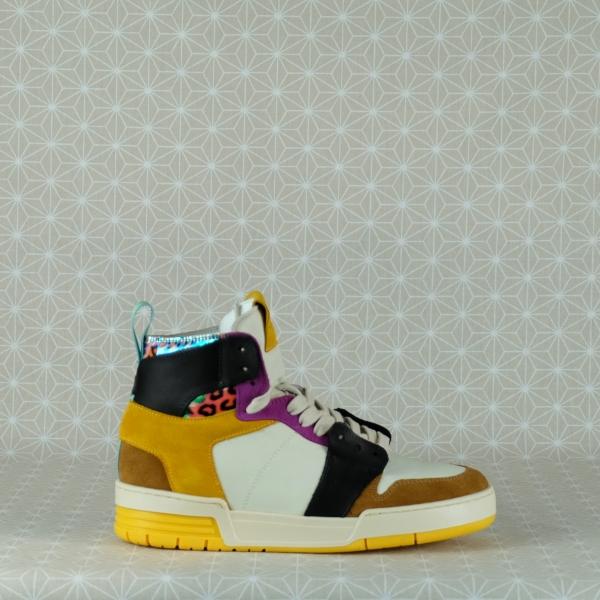 lemarè sneaker donna stile nasker anni '90 zeppa interna pelle e crosta multicolore