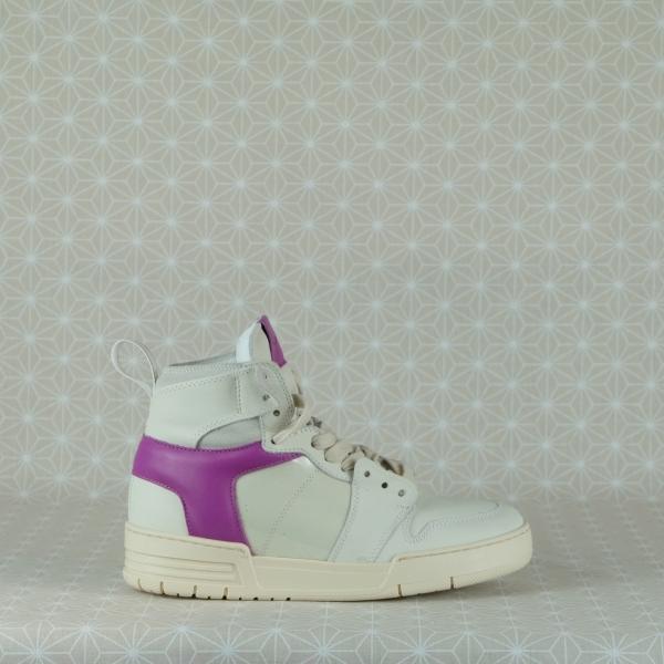 lemarè sneaker donna stile nasker anni '90 zeppa interna pelle e laminato bianca con inserti fucsia