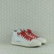 P448 skate cloud sneaker polacchino uomo in pelle bianca con lacci rossi e cerniera nella parte interna.