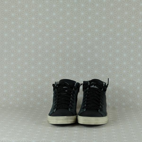 P448 skate blach cow sneaker donna alta in pregiata pelle colore nero cerniera laterale e lacci neri glitter