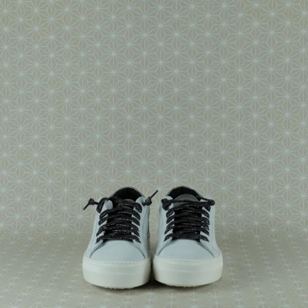 P448 Thea Maya white sneaker bassa donna in pelle bianca con dettagli color metallo e lacci color metallo